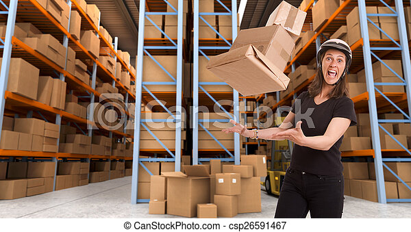 Crazy female courier at warehouse b - csp26591467