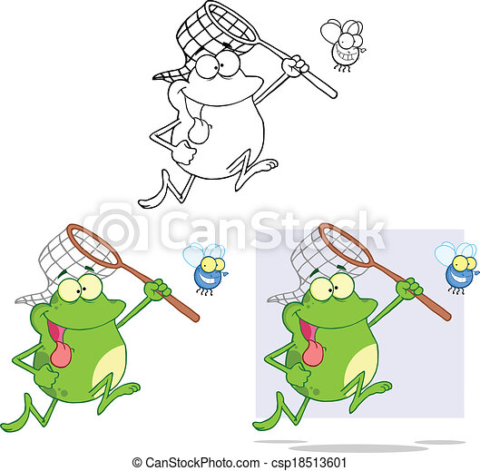 Crazy Frog Chasing A Fly Collection - csp18513601