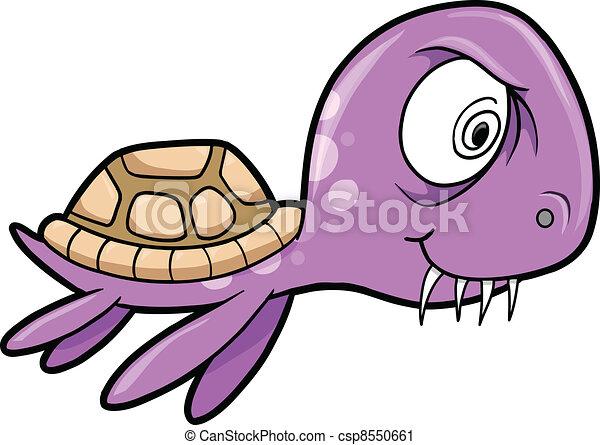 Crazy insane summer sea turtle animal vector.