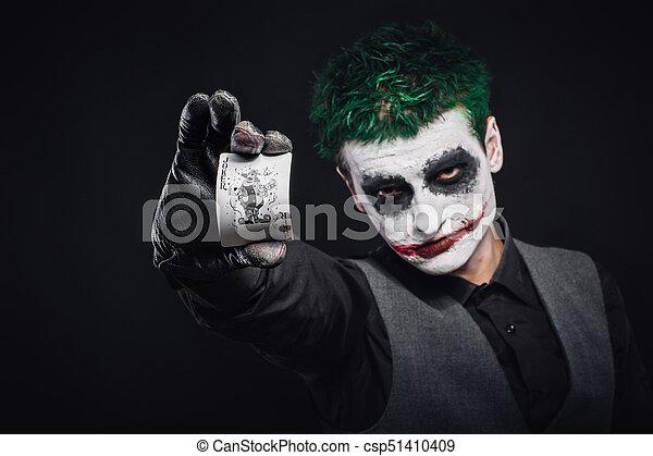 Halloween Joker Card.Crazy Joker Face Halloween
