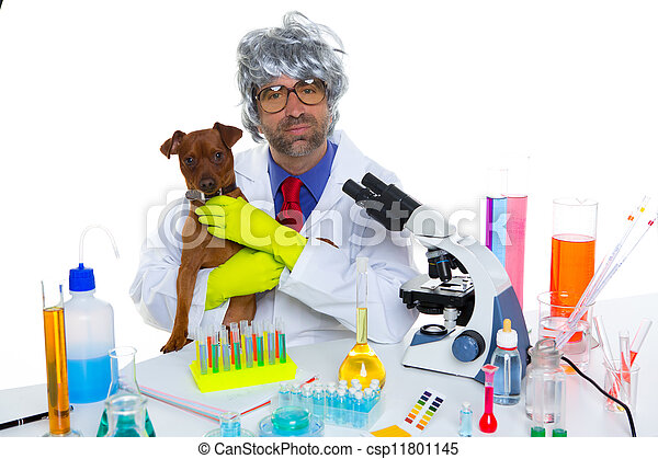 Crazy nerd scientist silly veterinary man with dog at lab - csp11801145