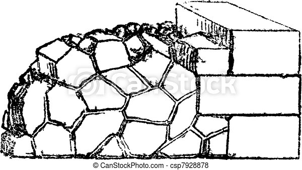 Crazy paving of the Romans contains joints in all directions, vintage engraving. - csp7928878