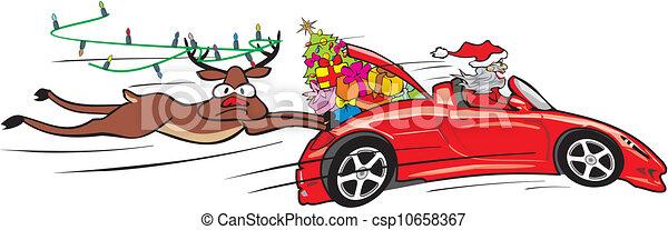 crazy santa in convertible - csp10658367