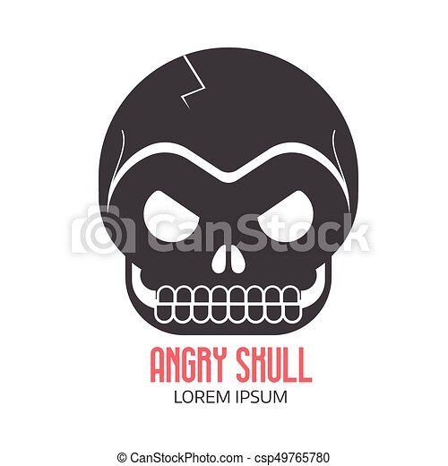Crazy Skeleton Skull Cartoon Icon
