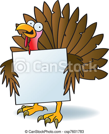Crazy Turkey With A Sign - csp7601783