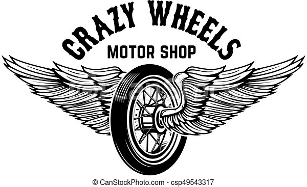 Crazy wheels. Motorcycle wheel with wings isolated on white back - csp49543317