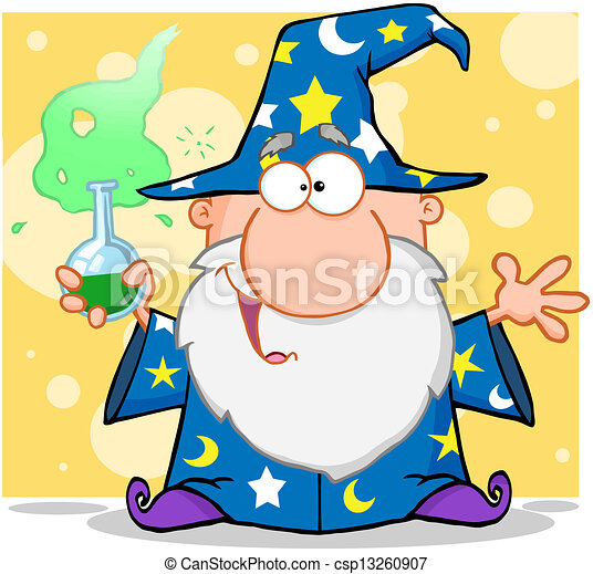 Crazy Wizard Holding A Magic Potion - csp13260907