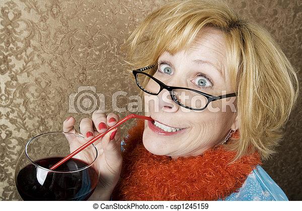 Crazy Woman Drinking Wine - csp1245159
