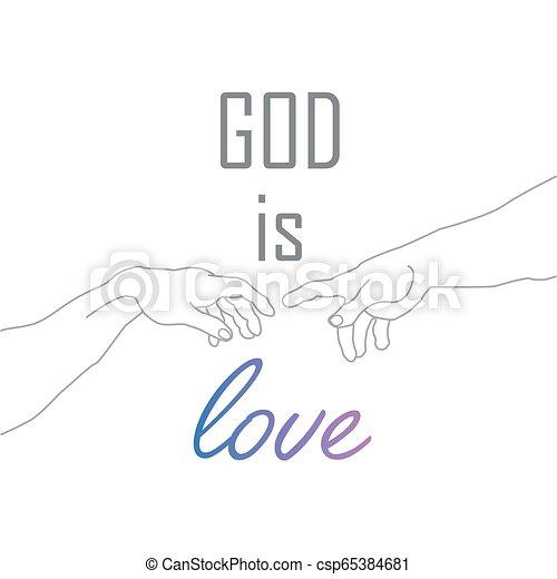 Dios Es La Cita Motivacional Del Amor Con Las Manos De Dios