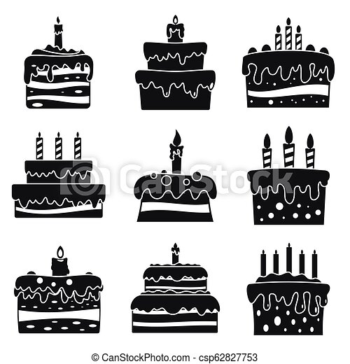 Cream Cake Birthday Icon Set Simple Style Cream Cake Birthday Icon
