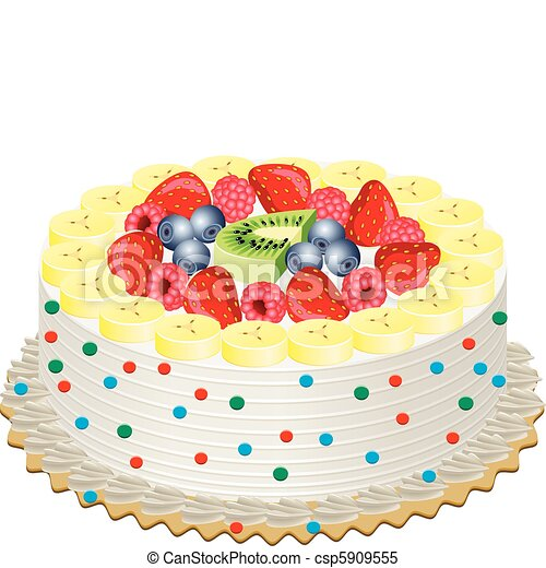Delicious Cake Clipart : cream cake with fruits. Vector delicious cream cake with ...