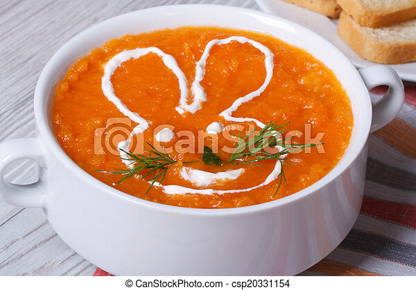 cream soup of carrots for children with bunny close-up - csp20331154