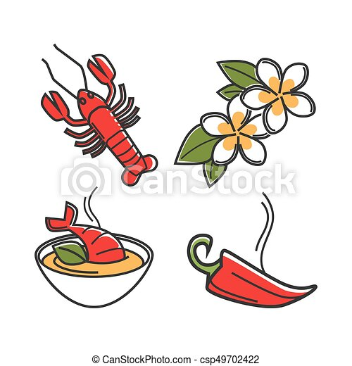 Cream soup with lobster, vanilla flowers and chili pepper - csp49702422