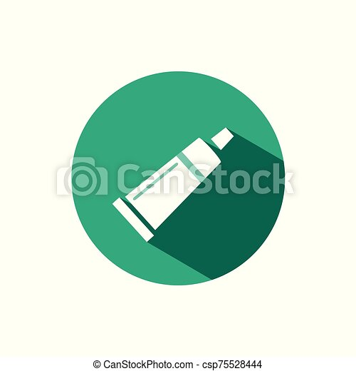 Cream tube icon with shadow on a green circle. Vector pharmacy illustration - csp75528444