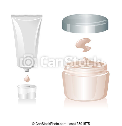 Cream tube isolated on white background, vector - csp13891575