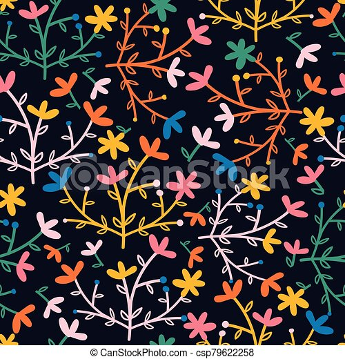 Creamy with pink flowers and brown leaves seamless pattern background design. - csp79622258