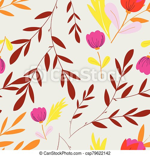 Creamy with pink flowers and brown leaves seamless pattern background design. - csp79622142