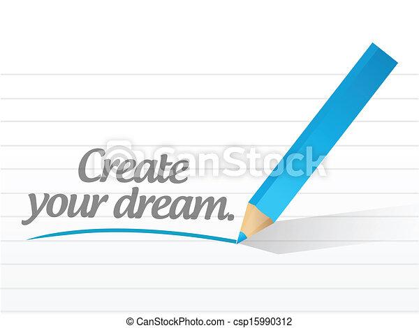 creare, sogno, messaggio, illustrazione, tuo - csp15990312