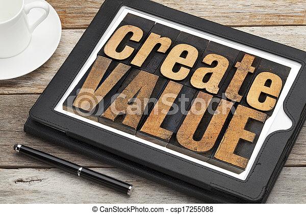 create value on digital tablet - csp17255088