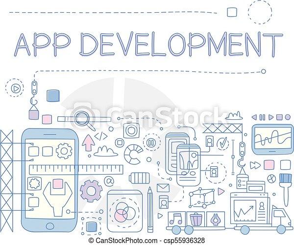 Información de bocetos creativos de desarrollo de aplicación móvil. Proceso de la creación. Arte en línea con relleno colorido. Diseño de vectores para la presentación de negocios - csp55936328