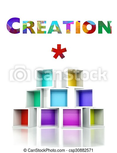 Creation with colorful 3d design illustration - csp30882571