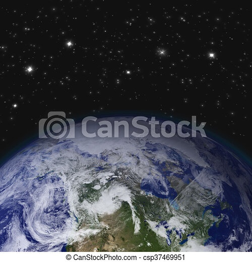 creative abstract global communication scientific concept space view of earth planet globe with world map