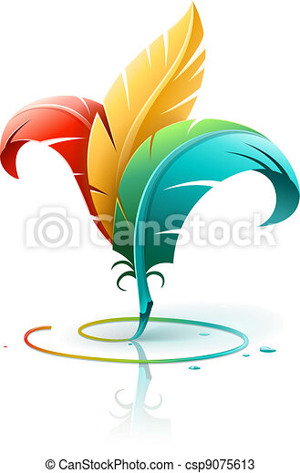 creative art concept with color feathers - csp9075613