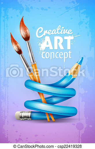 Creative art concept with twisted pencil and brushes for drawing - csp22419328