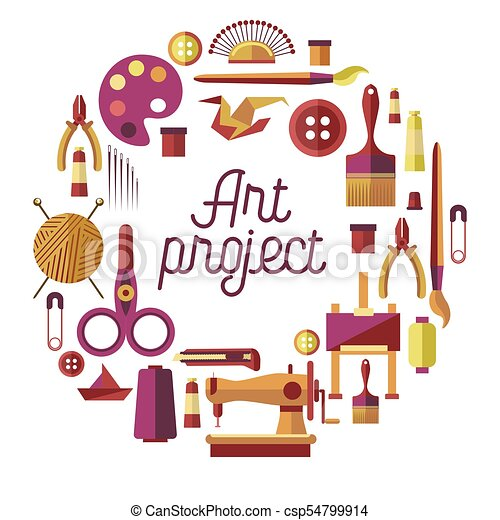 Creative art project vector poster for DIY handicraft and handmade craft workshop classes - csp54799914