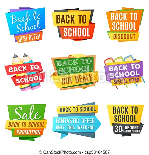 Creative back to school vector advertising banners - csp58164587