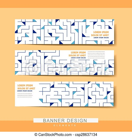 Creative Banner Template Set Design With Geometric Elements
