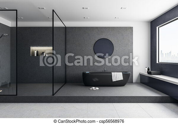 Creative Bathroom Interior With City View Bathtub And Other Objects Classy Bathroom Clipart Creative