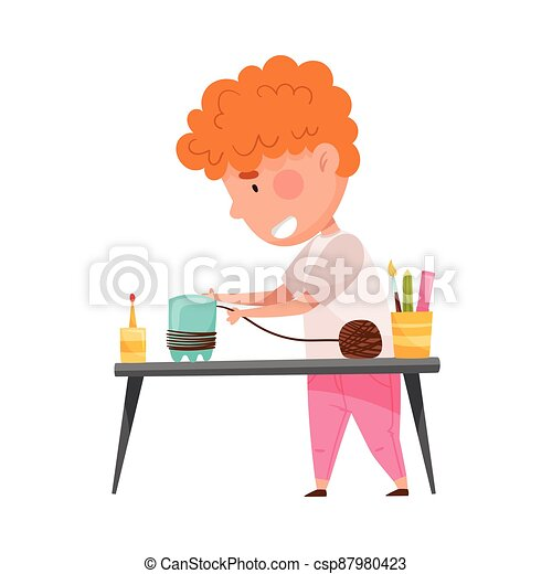 Creative Boy at Desk Crafting from Used Plastic Bottle Vector Illustration - csp87980423