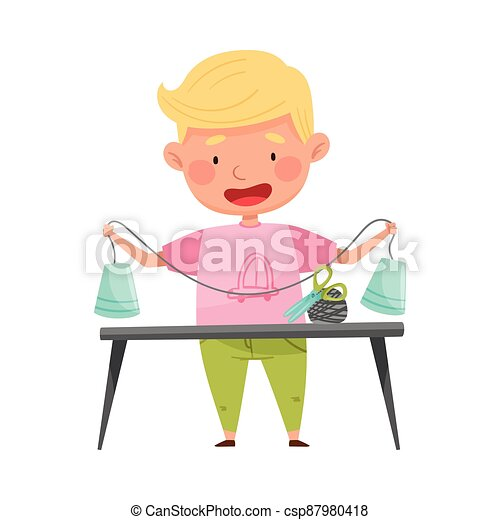 Creative Boy at Desk Crafting from Used Paper Cup Vector Illustration - csp87980418