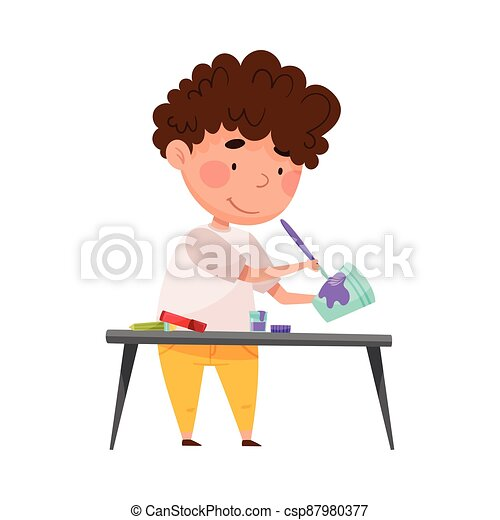 Creative Boy Crafting at Desk Painting Used Paper Cup Vector Illustration - csp87980377
