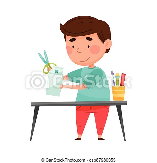 Creative Boy Crafting from Used Carton Package Vector Illustration - csp87980353