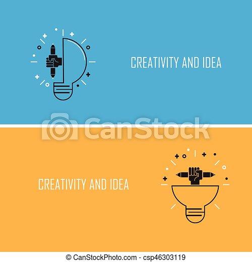Creative Bulb Light Idea And Pencil Hand Iconflat DesignConcept Of Ideas Inspiration