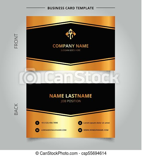 Creative Business Card And Name Template Luxury Geometric Graphic Golden Color On Black Background