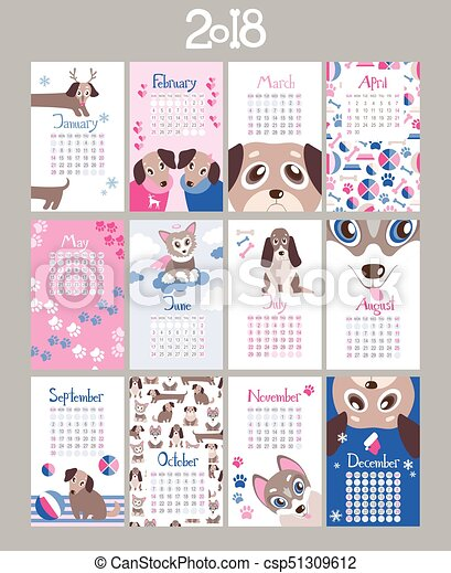 Creative Calendar 2018 With Cute Cartoon Puppies Flat Colored I
