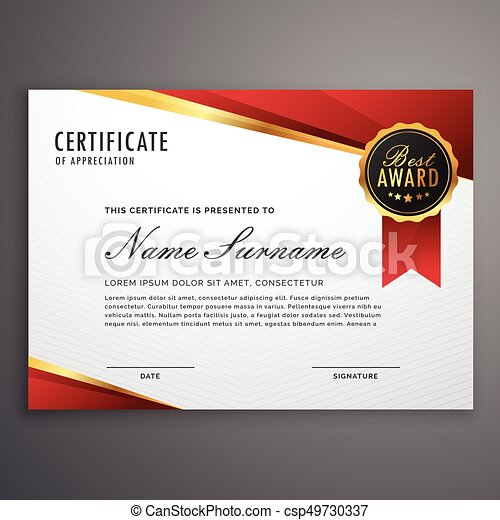 creative certificate of appreciation award template in red and golden design - csp49730337