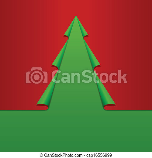 creative christmas tree card template curled corners paper vector