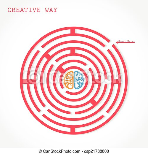 Creative circle maze way concept - csp21788800
