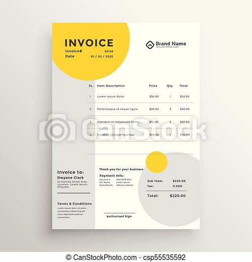 Creative clean invoice template design creative clean invoice template design csp55535592 thecheapjerseys Image collections