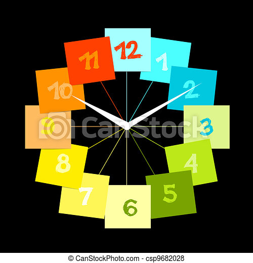 Creative clock design with stickers for your text - csp9682028