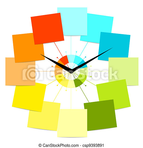 Creative clock design with stickers for your text - csp9393891