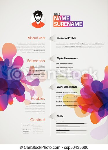 Creative, color rich cv / resume template with colorful... vector ...