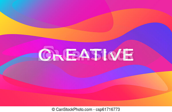 Creative Color Shapes Design Modern Colorful Poster Bright Waves With White Inscription Trendy Abstract Background Orange And Purple Gradients