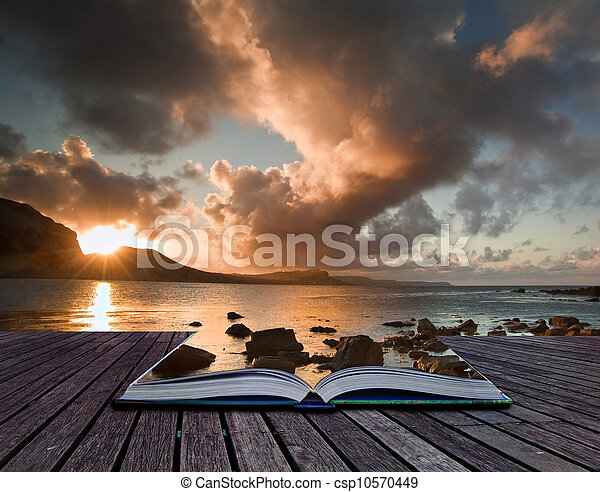 Creative concept image of seascape in pages of book - csp10570449