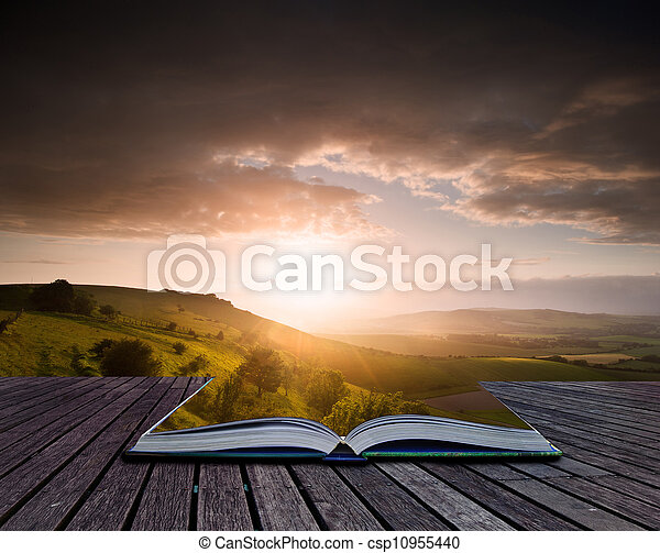 Creative concept image of Summer landscape in pages of book - csp10955440