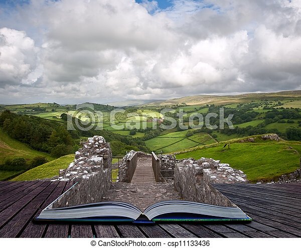 Creative concept image of Summer landscape in pages of book - csp11133436